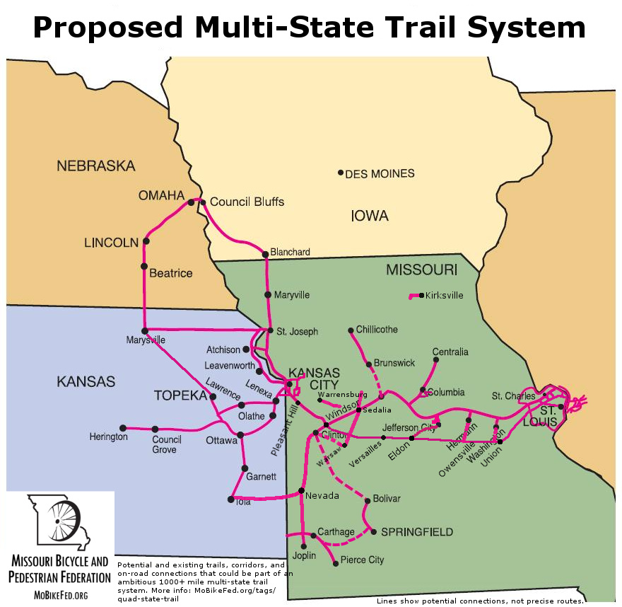 Quad-state trail system mapped--over 700 miles of trail linking MO