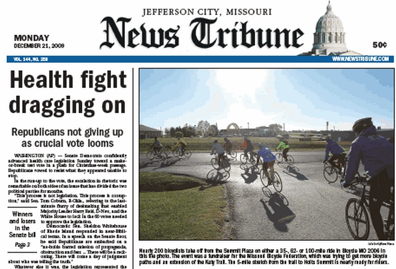 BikeMO riders featured on front page of Jefferson City Tribune - click for full-sized photo