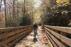 The Virginia Creeper Trail is similar to the proposed Rock Island Trail in Misso