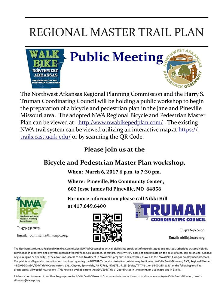 SW Missouri Bicycle, Pedestrian, and Trails Regional Plan - Public Meeting Annou