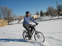 Riding a mountain bike in snow is a lot of fun . . . but most winter cycling i