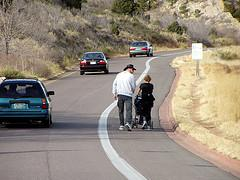 Pedestrians need to walk to every destination automobiles drive to