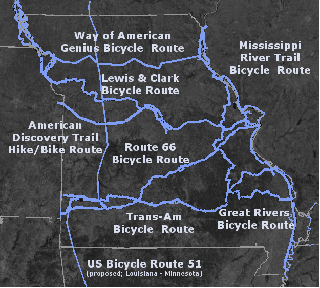 Major bicycle routes across Missouri