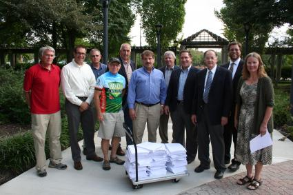 Representatives of MoBikeFed and MoRIT meet with Ameren to deliver petition signatures in support of the Rock Island Trail. The Rails-to-Trails Conservancy played a key role in promoting the trail, helping build nationwide support, and in submitting a competitive bid to purchase the corridor.