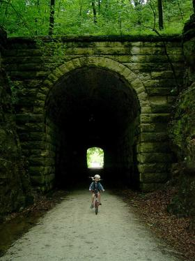 The Rocheport Tunnel is one of the most commonly photographed landmarks along th