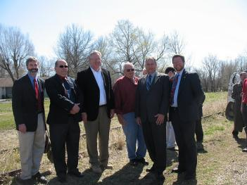 Governor Nixon with local officials at the 2009 Rock Island Trail groundbreaking