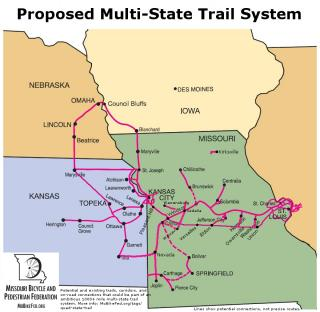 Potential mult-state trail system.  The Katy-KC section is the linchpin of this