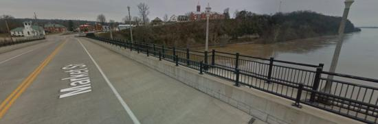 Eight foot separated path with high barrier and decorative railing (Hermann, MO)
