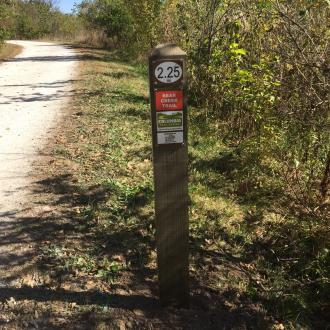 Mile marker on Columbia's Bear Creek Trail