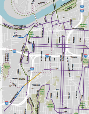 Bike KC routes planned in 1997, implemented in 2013
