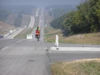 Bicyclist on MoDOT highway