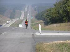 Cyclist on MoDOT road