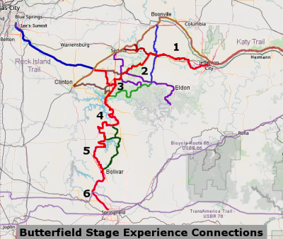 Butterfield Stage - Options and Regional Connections Map (click for full-sized version)