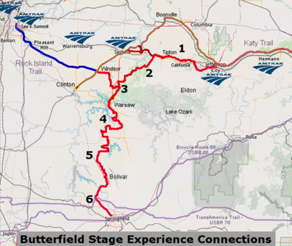 Amtrak Stations in relation to the Butterfield, Katy, and Rock Island Trails (click for full size)