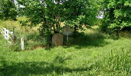 Butterfield Stone and historical marker south of Wilson's Creek