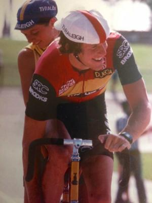 Tilford just before setting National One-Hour record at the San Diego Velodrome,