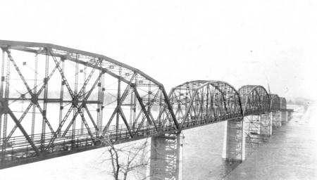 The Champ Clark Bridge across the Mississippi River was completed in 1928