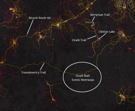 Strava heatmap of the ONSR/Ozark Trail region