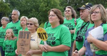 Supporters of the Rock Island Trail rallied at the state Capitol in Jefferson, M