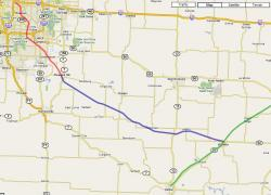 Katy Trail Connection to Kansas City - the route.  Portion discussed in this article is Windsor to Pleasant Hill, shown in blue.