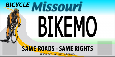 Missouri Specialty License Plate for bicycling, draft