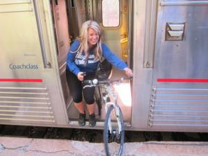 Rolling a bicycle on an Amtrak train. Rolling on the new Missouri rail cars will be similar to this--vs the current requirement to carry your bicycle up several narrow, steep steps. (Photo courtesy Matt O'Toole, Virginia Bicycle Federation)