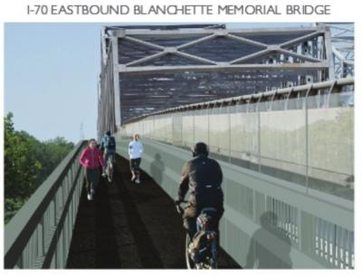 A planned bike/ped path added to the I-70 bridge at St. Charles