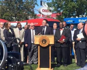 Jackson County Executive Mike Sanders joins local and agency officials
