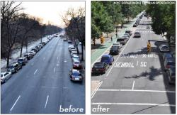 Road diet - note how the large expanse of blacktop is narrowed