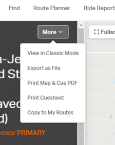 Every RideWithGPS Route Page has a More button, allowing you to download cuesheets and files.