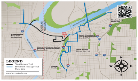 Kansas City's Riverfront Heritage Trail - the trail connects two states (click for full size map)