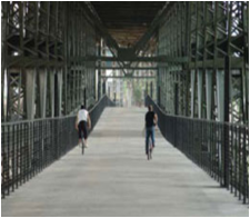 Kansas City's Riverfront Heritage Trail - Woodswether Bridge over the Kaw River