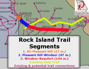 The Jackson County/KCATA section of the Rock Island Trail is shown in orange on