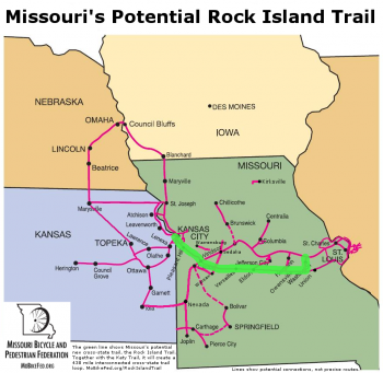 Potential cross-state Rock Island Trail - with the Katy Trail it will create a 453 trail loop across Missouri