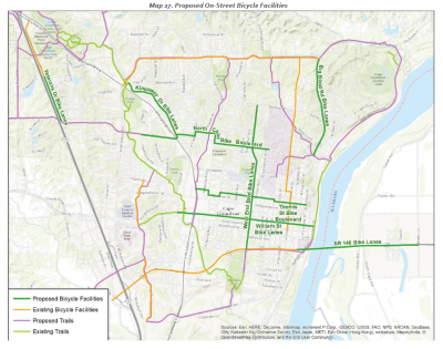 Map 27 - Proposed on-road bicycle routes