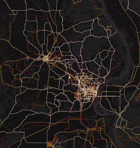 Strava Cycling Heatmap for greater Cape Girardeau region (click for full-sized v