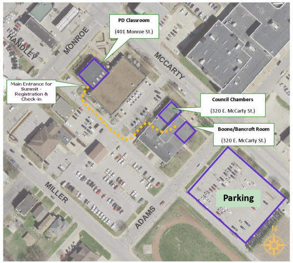 Parking, registration, and session locations for 2018 Active Transportation Summit (click for full size)