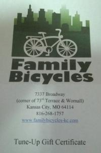 Bike tune-up - One of our donor/member prizes, courtesy Family Bicycles