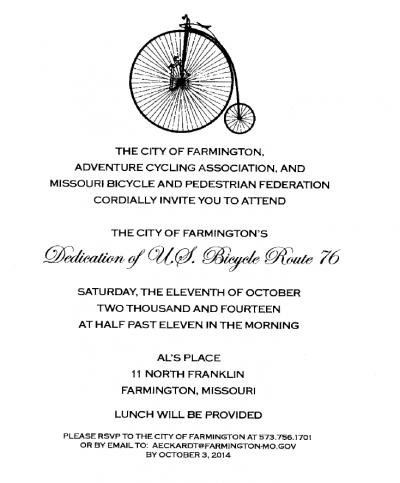 US Bicycle Route 76 Dedication Invitation