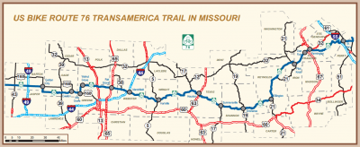 USBR 76, the Transamerica Trail, map inset from MoDOT's 2013 State Highway Map.  Click for full-sized version.