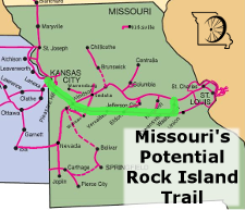 Rock Island Railroad Corridor - 213 miles from Kansas City to Beaufort