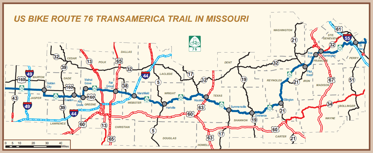 usbr 76 the transamerica trail map inset from modot s 2013 state highway map click for full sized version