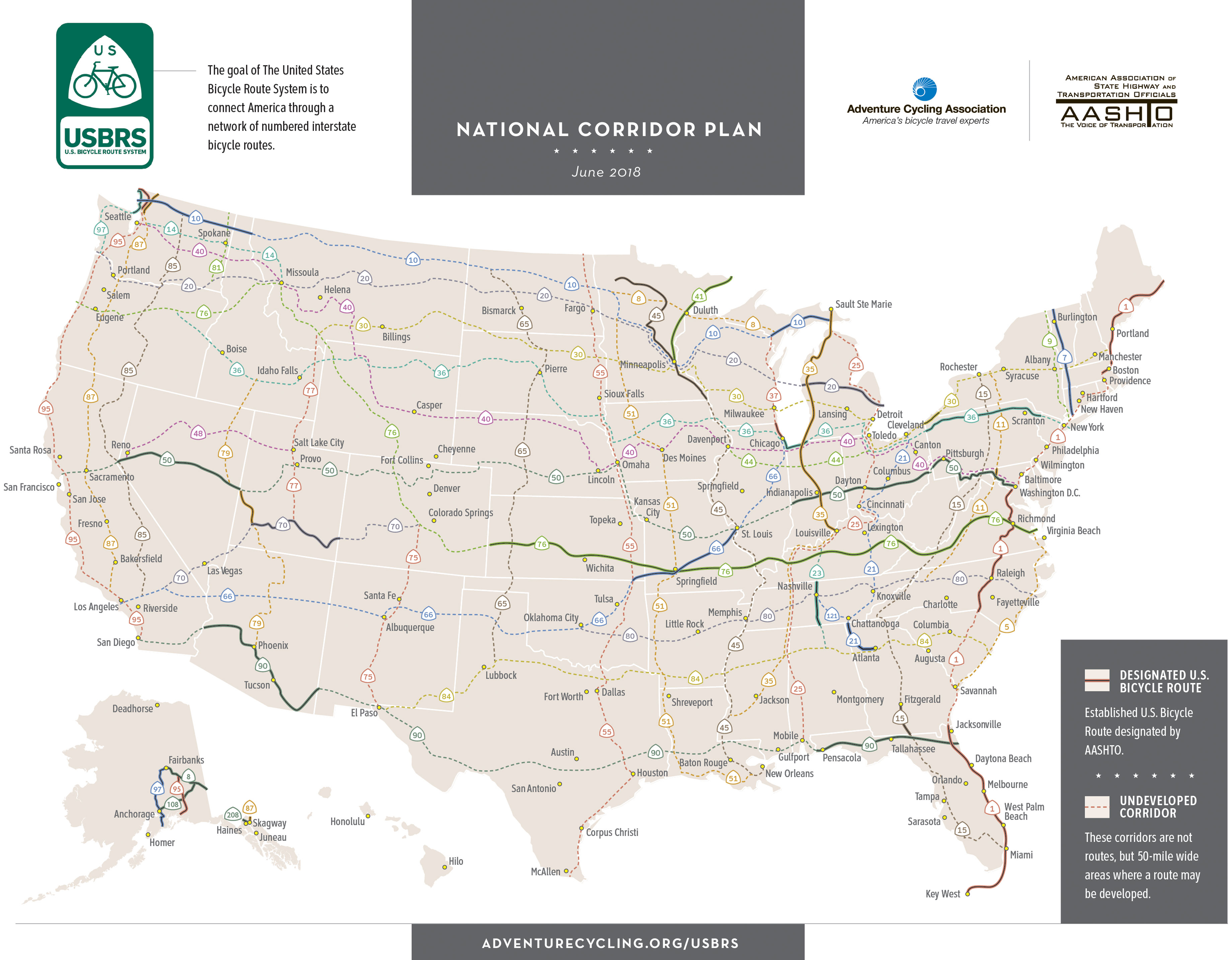 U.S. Bicycle Route System overview map - click for full-size map